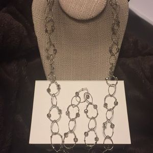 Jewelry - 30 inch silver crystal necklace